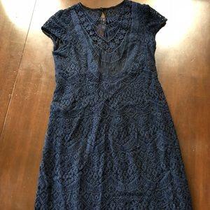 NANETTE LEPORE sheath dress navy crocheted